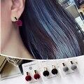 3 Colors Korean Style Cute Ear Stud Luxury Enamel Velvet Ball Stud Earrings for Women 1B2001