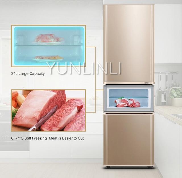 Household Three-door Type Refrigerator  Domestic Energy-saving Refrigerator   206L Large Capacity Household Fridge  BCD-206GX3S 1