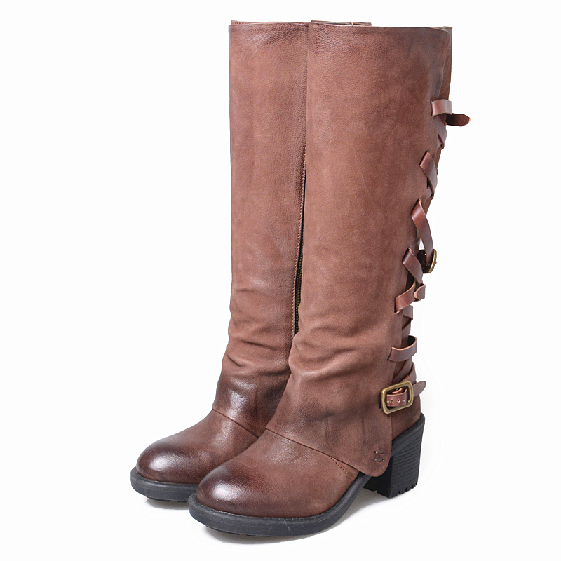 Botines mujer 2018 vintage thigh high boots buckle ladies shoes cowboy boots genuine leather botines punk lace up shoes woman mabaiwan handmade rivets military cowboy boots mid calf genuine leather women motorcycle boots vintage buckle straps shoes woman