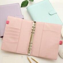 Korean Fashion Leather A5 Ring Binder Spiral Notebook 6 Binder Rings Loose Leaf