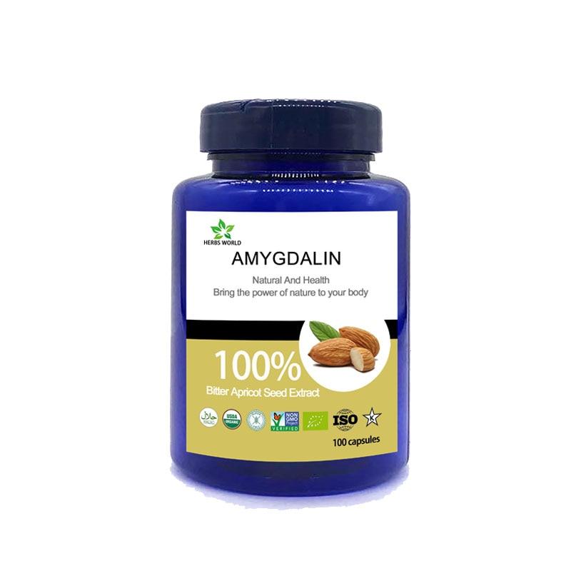 Natural amigdalina 100 pcs/bottle 100% amygdalin pó Bitter Apricot Semente Extrato 20:1 vitamina B17