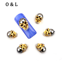 10pcs New Design Rhinestone Gold Skull Nail Art Decoration 3d Metal Alloy Charms Party Manicure Nail Tools