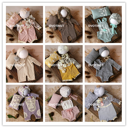 Dvotinst Newborn Baby Photography Props Crochet Knitted Lace Clothes Hat Pillow Fotografia Costume Studio Shooting Photo Props цены