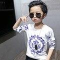 17 детская одежда с длинными рукавами футболки футболка мальчиков весна детей новый прилив стрейч хлопчатобумажную рубашку блузку