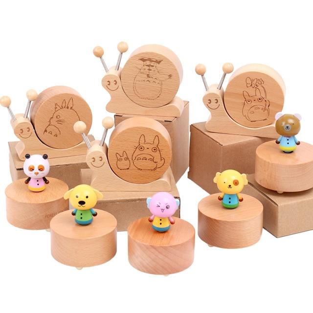 Wooden Creative Rotating Cartoon Animal Music Box Beech Wooden Music