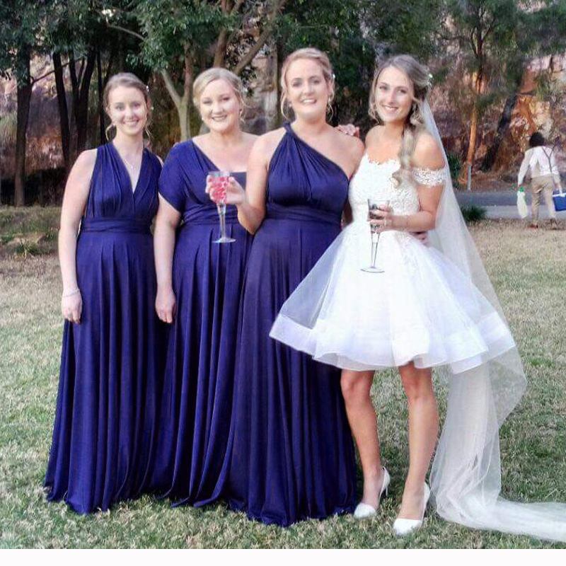 Midnight Blue Multiway Bridesmaid Dress Long Infinity Dress Wrap Prom Dress  Plus Size Maxi Dress ...