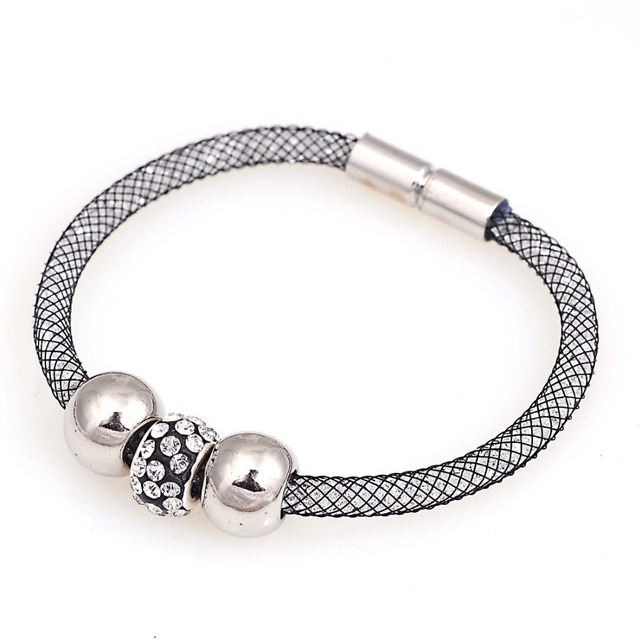 Mesh Chain Crystal Bracelets With Inside Full Resin Magnetic Charm For Women Gifts