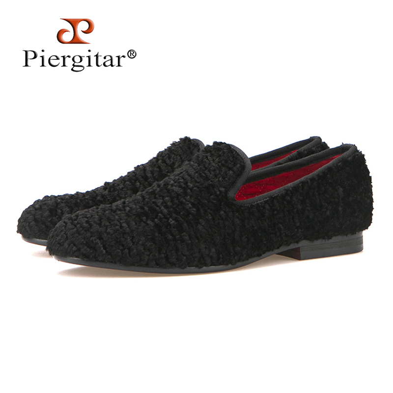 Piergitar new winter Special lamb wool Men two color fabric shoes Male Party Prom and Banquet Loafers Men Plus size Flats plus size two tone color asymmetric top