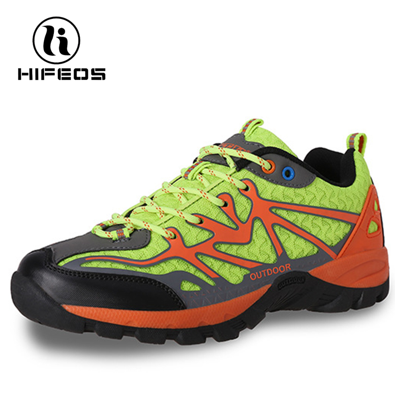 HIFEOS outdoor hiking shoes shockproof couple non-slip leather boots comfortable sneakers low-top breathable trekking soft M030 цена и фото