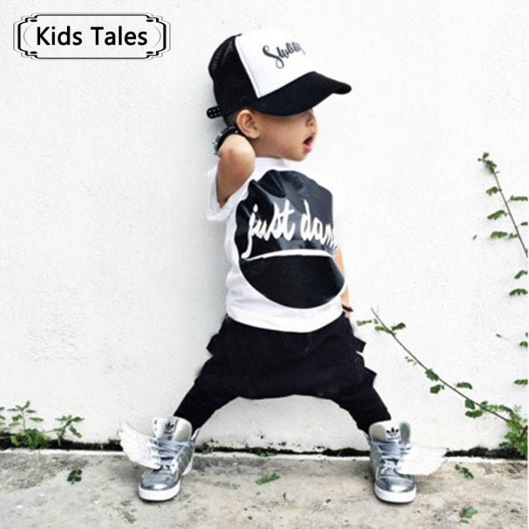 SY130 2017 new arrival summer baby boy's clothes letter printed shirt + pants 2 pcs. set children clothing kids clothes retail