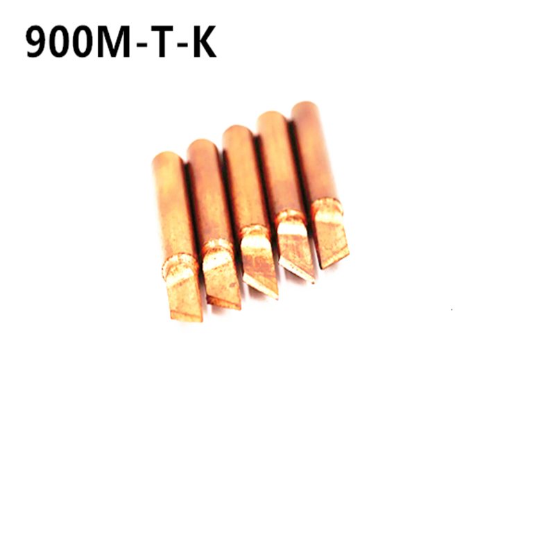 SZBFT 5piece 900M-T-K Lead-free Red Copper Pure Cupper Solder Tip  For Hakko 936 FX-888D Saike 909D 852D+ 952D Diamagnetic DIY