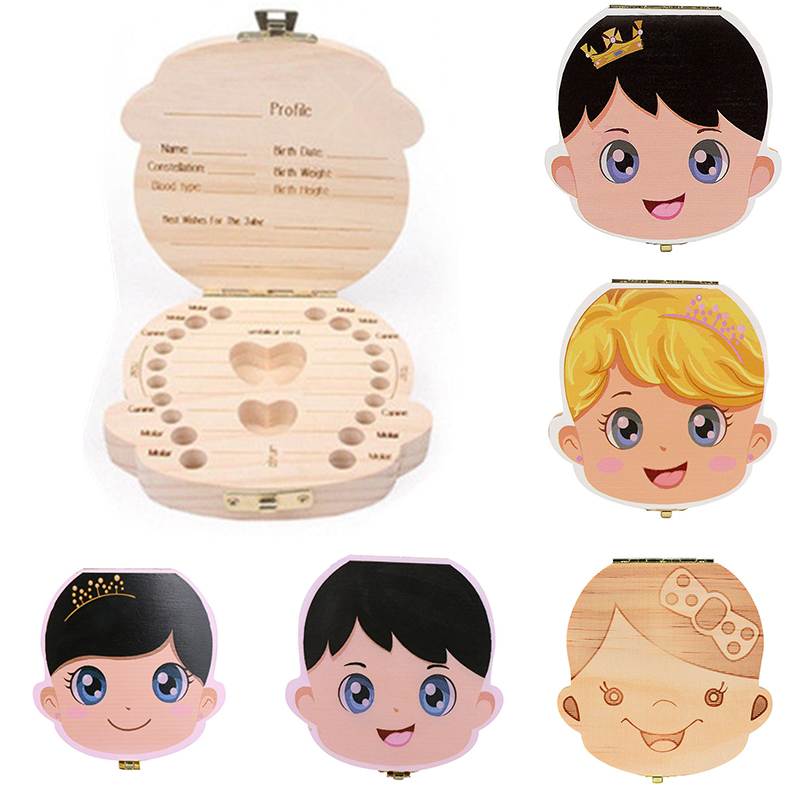 Wood Tooth Box Baby Kids Tooth  Box Storage Box Baby Milk Teeth Collect Organiza Dor  Spanish&English&French&Russian Case