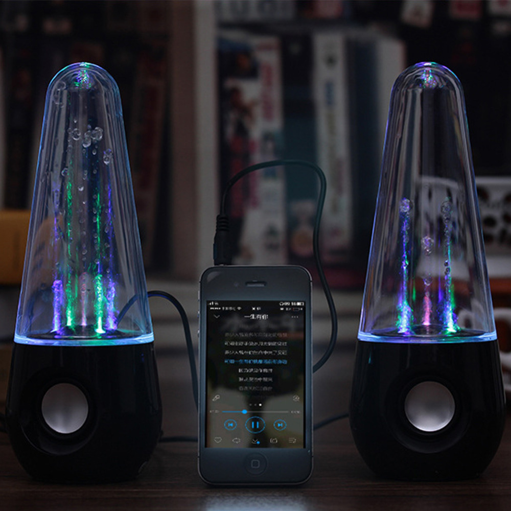 Wired USB Powered Spray Mult-Color Water Dancing Speakers For Laptop Desktop Computer PC, 3.5Mm Audio Music Fountain Loudspeaker