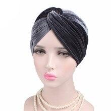 Hat Scarf Beanies-Caps Velvet Women Accessories Cancer-Headwear Hair-Loss-Cover Cross-Turban