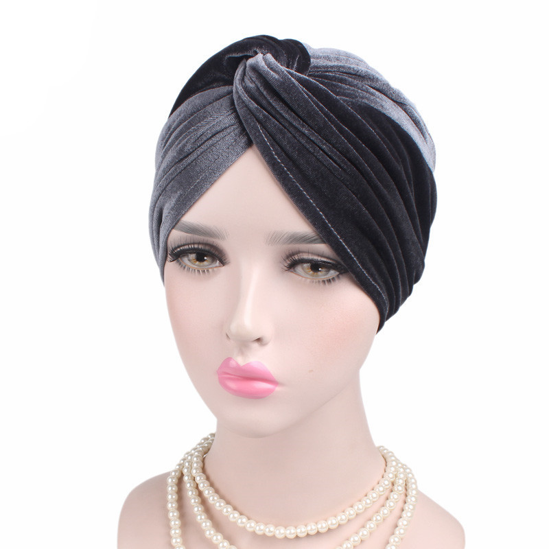 Muslim Stretch Women Velvet Cross Turban Hat Scarf Chemotherapy Chemo Beanies Caps Cancer Headwear Hair Loss Cover Accessories