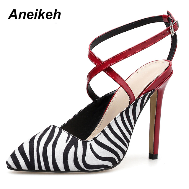 Aneikeh 2019 Summer Women Pumps High Heels Sexy Pointed Toe Slingback Gladiator Flock Party Dress Shoes For Lady Thin Heels Pump