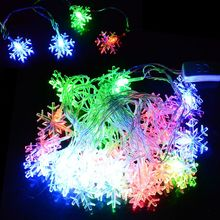 New Arrival 5M 28 LED Snowflake String Fairy Light Christmas Xmas Party Wedding Decoration Light 100-240V US Plug Z 35