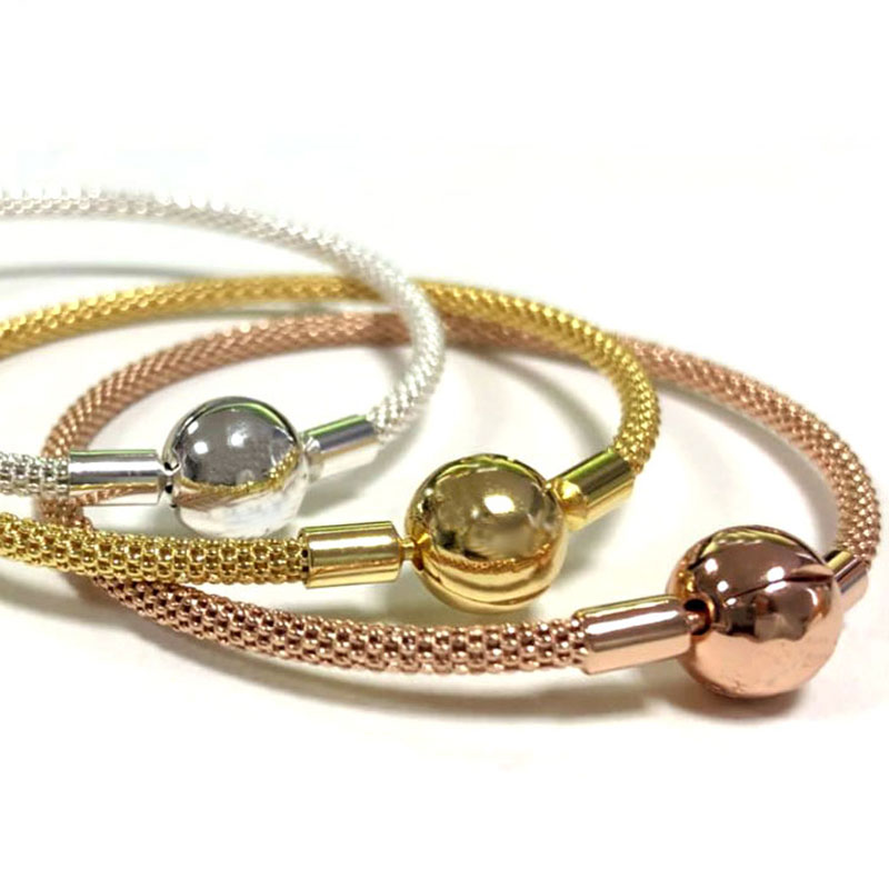 New Rose Gold & Silver Snake Chain Ball Clasp Mesh Bracelet Fit Women Bead Charm DIY Pandora Jewelry 925 Sterling Silver Bangle 925 sterling silver bracelet rose logo signature padlock smooth snake bracelet bangle fit bead charm diy pandora jewelry