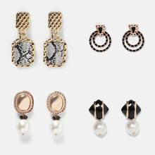 Dvacaman ZA Colorful Metal Enamel Earrings Women Crystal Drop Earrings Statement Jewelry Bohemian Accessory Love Christmas Gifts