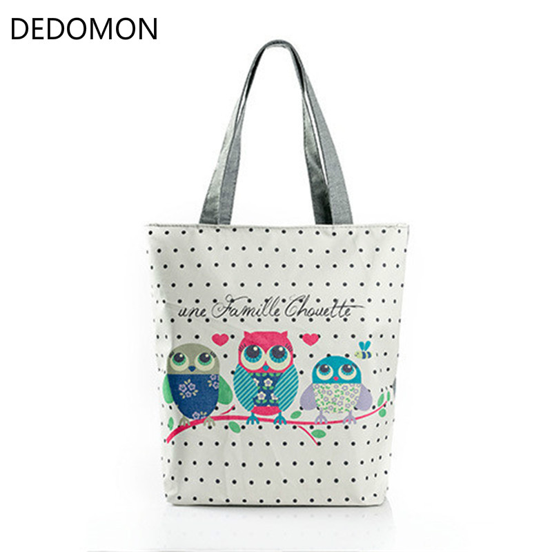 Floral And Owl Printed Canvas Tote Female Single Shopping Bags Large Capacity Lady Handbag Women Beach Bags Casual Tote Feminina