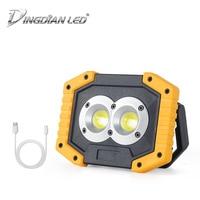 COB LED Working Lamp Portable Lantern DC 20W 5V 1A LED Flood Light 18650*2/AA*4 Battery USB Plug Rechargeable LED Camping Light