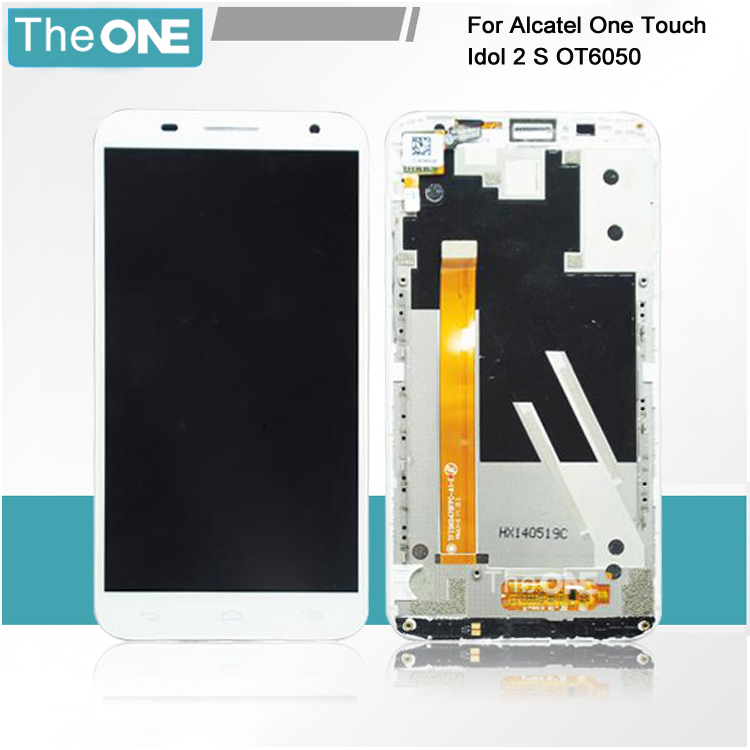 New LCD Screen with Touch Screen Digitizer Assembly Add Frame For Alcatel One Touch Idol 2S OT6050 6050 White/Black столлайн аурелия стл 156 06 2015015600600