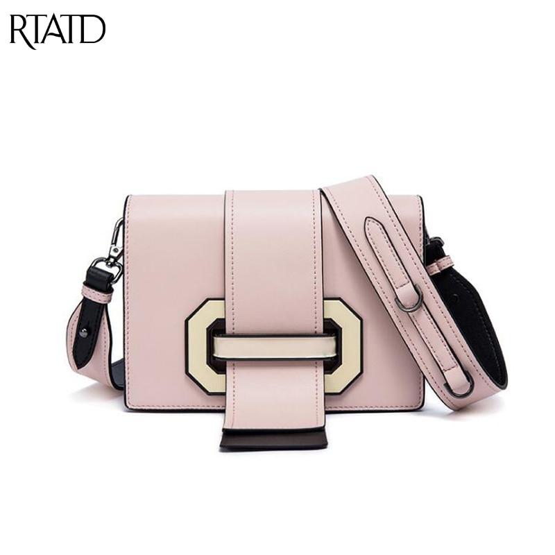 RTATD New Famous Brand Design Women Shoulder Bags Split Leather Sting Hasp Lady Messenger Crossbody Bag B264
