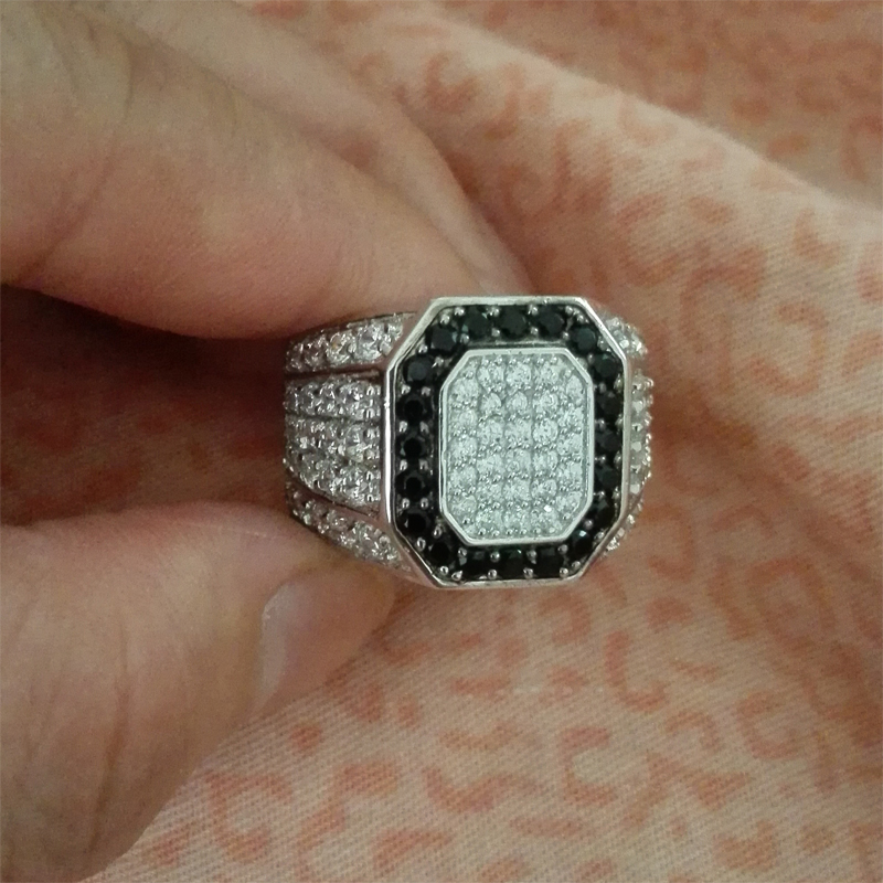 COLORFISH Genuine 925 Sterling Silver Men s Ring Micro Pave Small Black White Cz Stone Rings