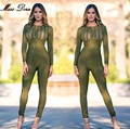2016 winter New fashion Army Green Black O Neck Long Sleeves Striped Bodycon Sexy Rompers Womens Jumpsuit Hot Sale dropship