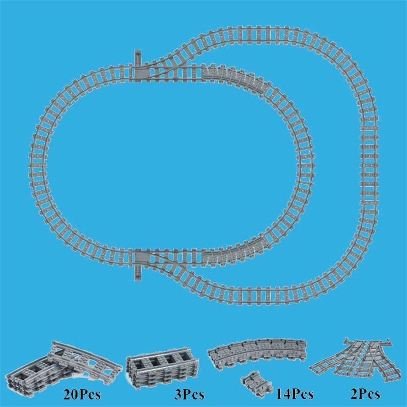 8-24 pièces Trains Urbains Train Flexible Rail Courbe Droite Rails Blocs De Construction Briques Jouets Compatibles avec