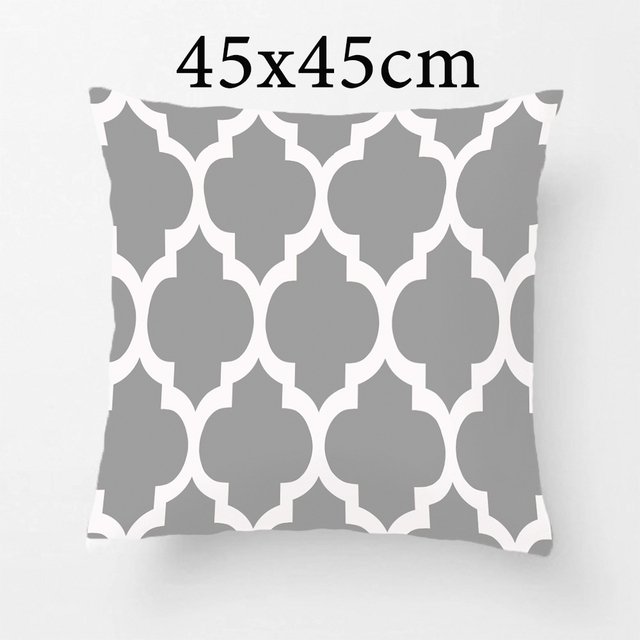 Dark Grey White Moroccan Quatrefoil Pattern Throw Pillow Decorative