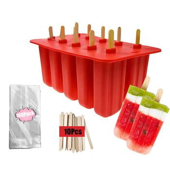 Ice Cream Mould Popsicle Mold Ice Tray Puck Popsicle Mold Ice Cream Silicone Mold With 100PCS Pop Bags And 10PCS Popsicle Sticks фото