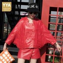 Женская подиумная куртка с рукавом «летучая мышь», свободная двубортная куртка из натуральной кожи, роскошное пальто из овечьей кожи в стиле хип хоп, новинка 2020