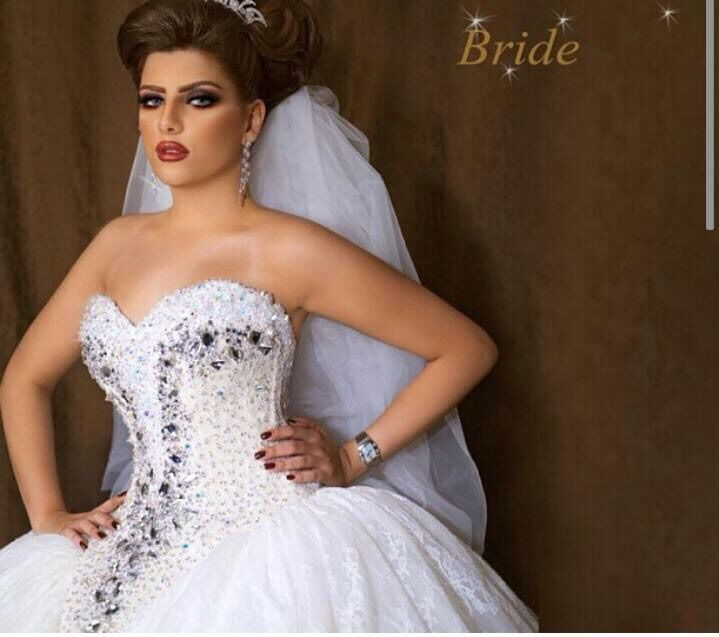 Stunning Arabian Design Sweetheart Crystal Bling Top Bodice Puffy Princess Wedding Dresses Vestido De Noivain From Weddings U Events