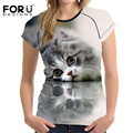 FORUDESIGNS Summer Fashion Women Basic T Shirt Tee Tops Funny 3D Cat Animal Slim Bodybuilding Woman t shirts Camisas Femininas