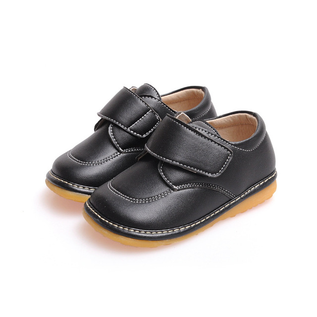 Solid Black Casual Boy Leather( PU) Shoes Baby  Boy Toddler Squeaky Shoes Free Shipping