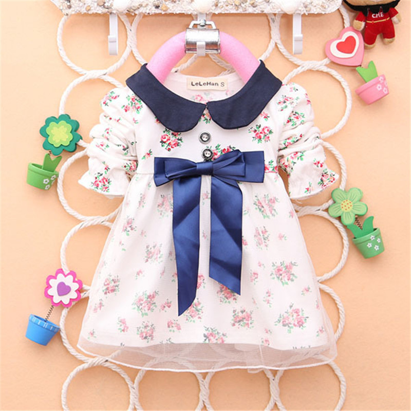2017 Spring New Fashion Baby Girls Cotton Dress Big Bow Infants Nice Floral Dresses