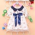 2017 Весна Новая Мода Новорожденных Девочек Хлопок Dress с Большим Бантом Младенцы Хорошие Цветочные Платья