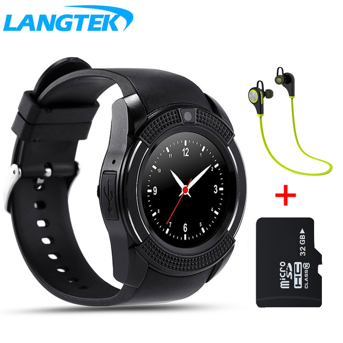 LANGTEK V8 WristWatch Bluetooth Smart Watch Sport With SIM Camera Smartwatch For Android and iphone Smartphone