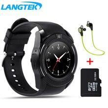 LANGTEK V8 Reloj Bluetooth Inteligente Reloj Del Deporte Con SIM Cámara Smartwatch Para Android y iphone Smartphone