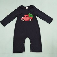 2017 Christmas Baby Romper Long Sleeve Navy Blue Solid Car With Christmas Tree Baby Costume Baby