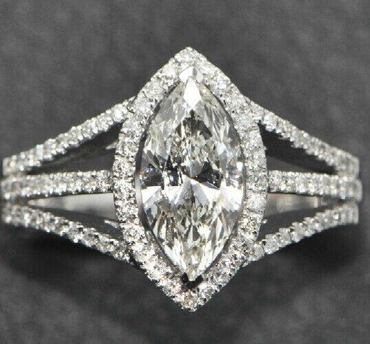 Queen Brilliance Бренд Центр 2.2 Карат Marquise Cut Diamond Halo Обручальное Кольцо Лаборатория Grown Moissanite Алмаз 14 К Белое Золото