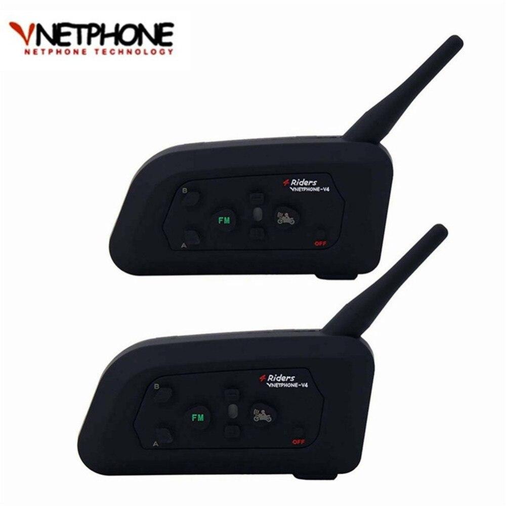2 Pc 1200 M V4 BT Multi Interphone Interphone bluetooth Étanche FM Moto Casque Casque Casque Communicateur 4 Coureurs