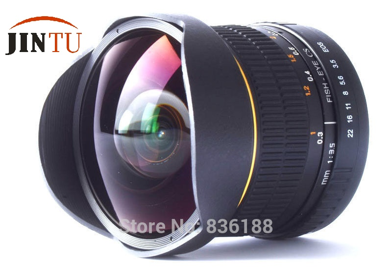 Prix pour Jintu 8mm fisheye pour canon eos 80d 70d 60d 7d 6d 5d t6 T6i T6s T5i T5 T3i DSLR Caméra 2 Ans de Garantie + Livraison Cas Sac