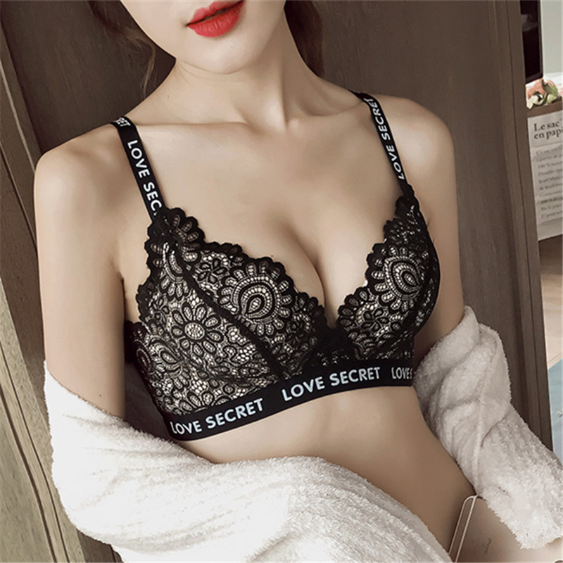 DERUILADY Sexy Lace Push Up Bras For Women Lingerie Wire Free Underwear Seamless Bra Breathable Bralette Soutien Gorge Femme