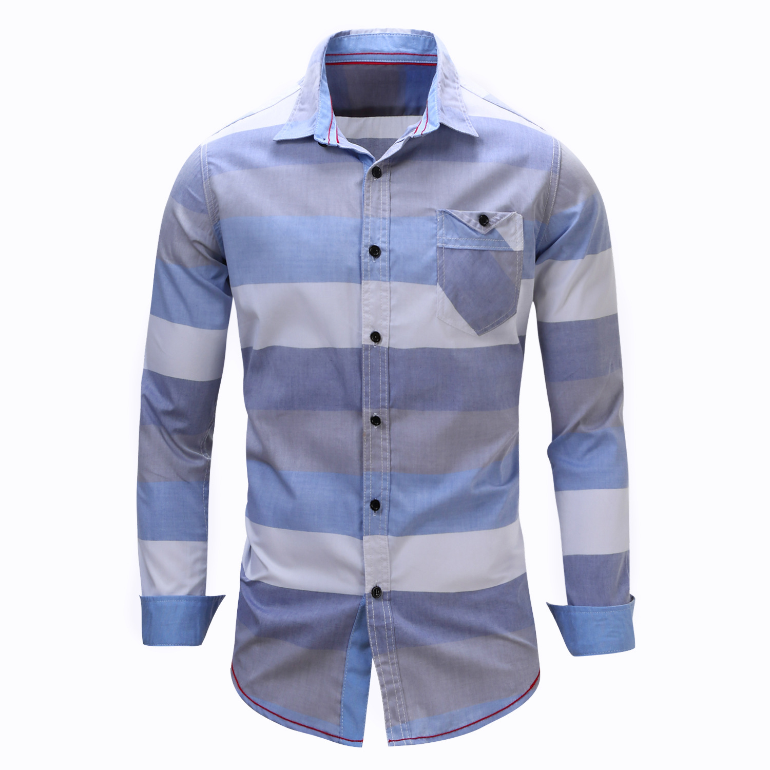 3 Colors Fredd Marshall Mens Dress Shirt Long Sleeve Striped White