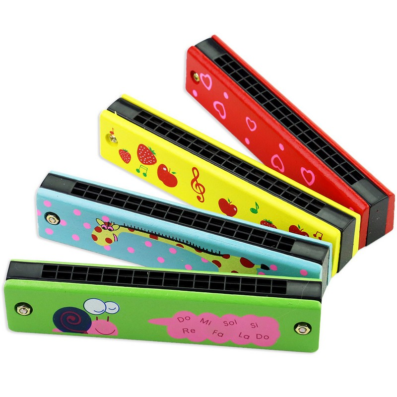 Wooden Harmonica For Children Toys Musical Instruments 16 Holes Double-Row Blow Cartoon Color Woodwind Mouth Harmonica Melodica