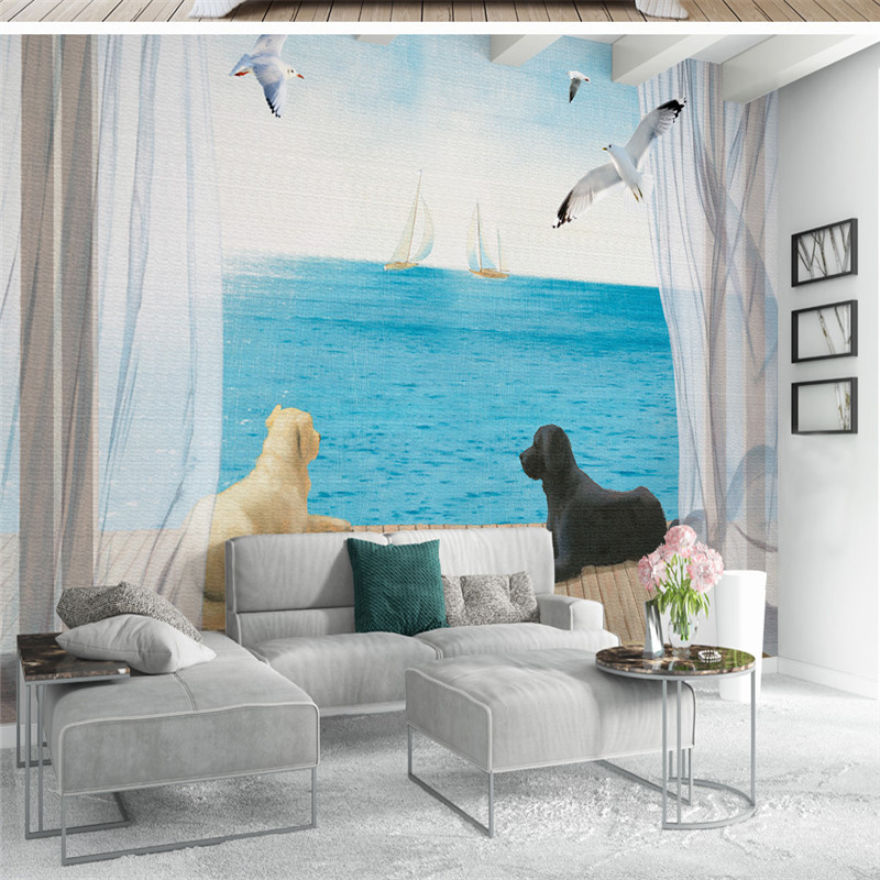 3D Custom Photo Wallpapers Nature Landscape Wallpaper Roll Dog Sea Scene Wallpaper Wall Murals for Living Room Home Decor shinehome black white cartoon car frames photo wallpaper 3d for kids room roll livingroom background murals rolls wall paper