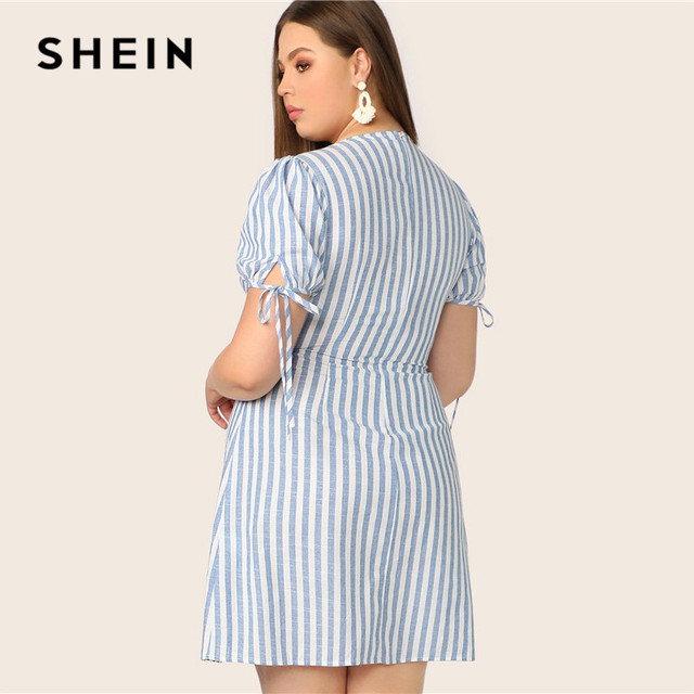 SHEIN Plus Size Blue Deep V Neck Button Front Tied Cuff Striped Dress Women 2019 Summer A Line Boho High Waist Plus Size Dress 2