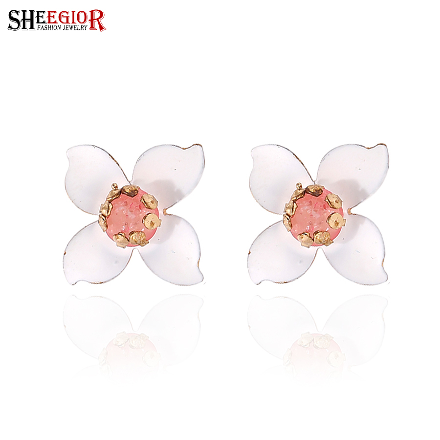earrings see image crystal larger white product flower shinning stud exquisite